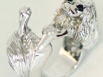 抱っこポーズのキャバリアリング【送料無料】大きな瞳と垂れ耳飾り毛のキャバリア犬を可愛いポーズの指輪にしましたの画像