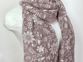 総刺繍ひば染め絹/綿 フラワーストール(グレイジュ)の画像