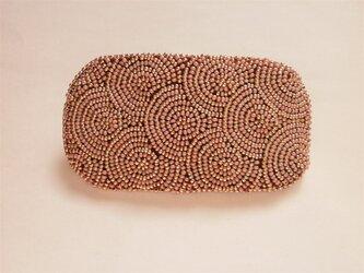 特小ビーズの丸模様刺繍バレッタ(ピンク×ゴールド)の画像