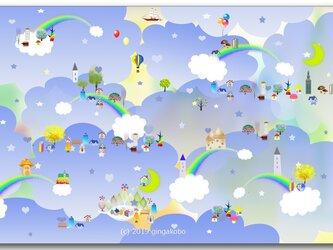 「虹の王国」 ほっこり癒しのイラストポストカード2枚組No.748の画像