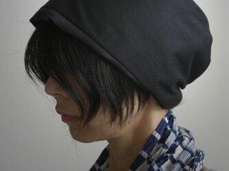 ターバンな帽子 黒リバーシブルB 送料無料の画像