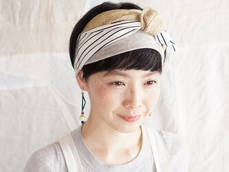 patchwork turban (cotton×linen mix 19ss-h)の画像