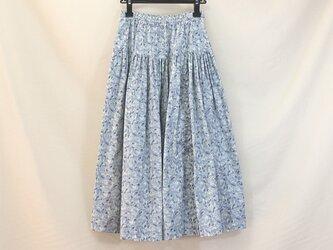 ウエストゴムのリボンスカート(ブルー)の画像