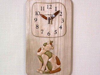 Woody Picture 猫時計の画像