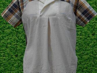 ブラウンMIXオープンカラーシャツの画像
