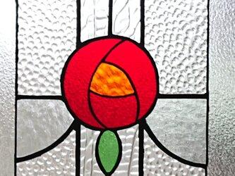 """ステンドグラス """"サンキャッチャー"""" バラの花のパネルの画像"""