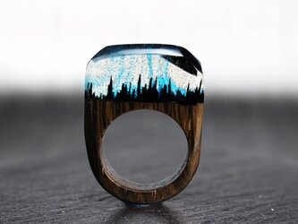 【送料無料】Midnight mountain ~Resin Wood Ring~の画像