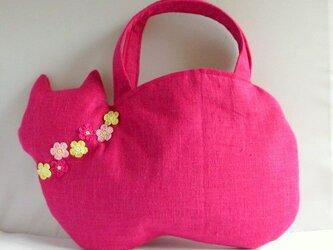 スラブリネン お花の猫バッグ ローズピンクAの画像