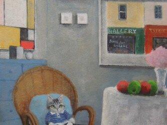 籐の椅子の子ねことフルーツの画像