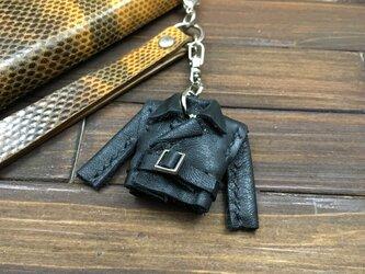 超小さい!本革製親指ライダースジャケット【黒】の画像