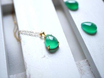 【14KGFチェーン】グリーンオニキスのネックレスの画像