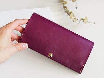 スマート長財布 パープル(イタリア牛革・メンテナンスフリー) 自然とお財布美人になれる薄い長財布!の画像