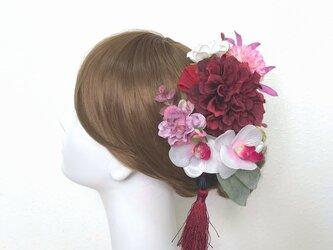 成人式・結婚式・卒業袴に♡ボルドーのダリアとコチョウランのヘッドドレス(20点セット)和装 着物髪飾り 和装婚 成人式前撮りの画像