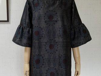 大島紬 ギャザー袖ワンピースの画像