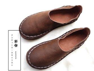 【受注製作】丸トウ 牛革レザーパンプス 靴 手製裁縫 茶褐色 SJC22の画像