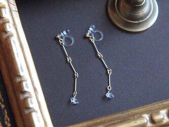 <イヤリング>~chain×ハーキマーダイヤモンド~の画像