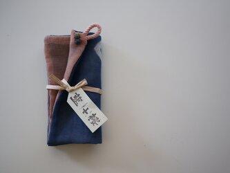手ふきん(藍+桜)の画像