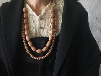 rosewood beads necklace (rice)の画像