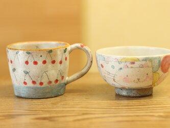 ※S様オーダー分 粉引きカラフルドットとねこのお茶碗とさくらんぼとブルーボーダーのカップの画像