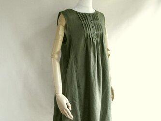 リネンカーキジャンバースカートの画像