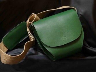 ポストマンバッグS☆限定1本*Italy牛革:グリーン×ヌメ⁂愛らしいフォルムです。⁂特別サービス価格品⁂の画像