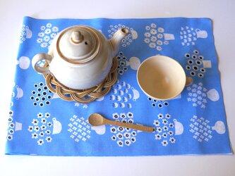 flower base てぬぐい(blue)の画像