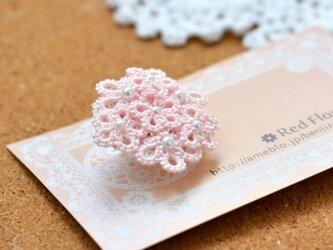 花束ポニーフック(ピンク)レース編み タティングレースの画像