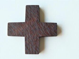 ウォールナットの木のポットマット 128mm(鍋敷き)拭き漆 0420Aの画像
