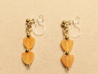 オレンジアベンチュリンハートイヤリングの画像