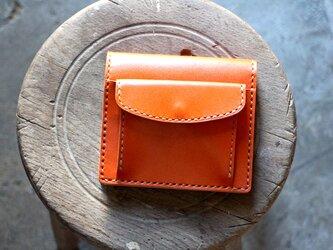 【受注生産品】コインが取り出しやすい二つ折り財布 ~栃木アニリンオレンジ×栃木ヌメ~の画像