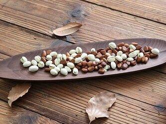 受注生産 ハンドメイド 木製プレート プレート フルーツプレート ウォールナット クルミの葉 ウッドデザイン ナチュラルの画像