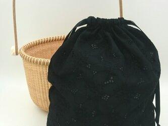 ナンタケットバスケット( オーバル型8インチ)用インバッグ(黒)の画像