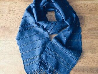 エジプト綿ネイビーブルーの手織りストール(幅狭)の画像