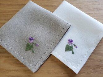 野に咲くスミレ|手刺繍仕立てのハンカチ*ネーム刺繍/サイズオーダー*の画像