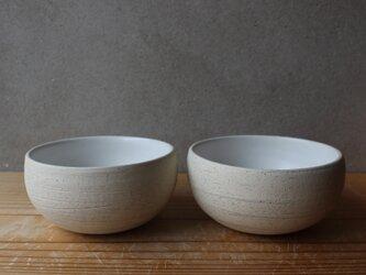育てるウツワ ボウル 茶碗 ペア セット(地器chiki)白 陶土の画像
