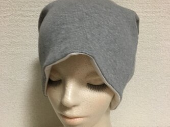 リブニット素材の帽子  ライトグレーの画像