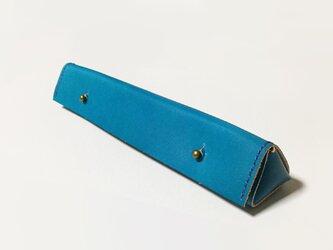 革のペンケース(ターコイズブルー)の画像