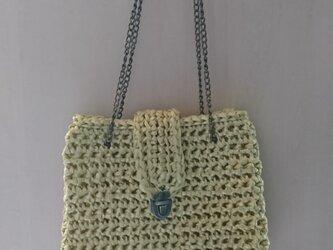手編み*ミモザ色のバッグ①バッグ 手下げバッグ ショルダーバッグ 斜め掛けバッグ ポシェット 送料無料の画像