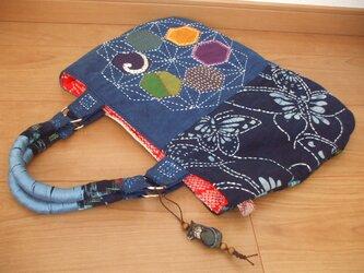藍染集め麻の葉刺し子トート 木綿の画像