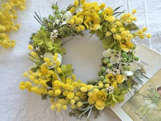 ミモザ~春を祝うリース の画像