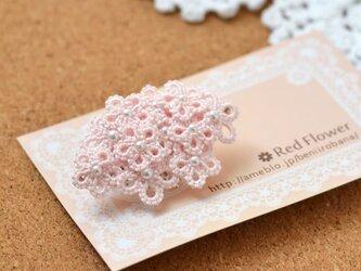 花束ポニーフック(ピンク)レース編み タティングレース レースフラワーの画像