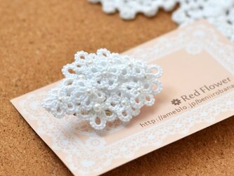 【受注製作】花束ポニーフック(ホワイト)レース編み タティングレース レースフラワーの画像