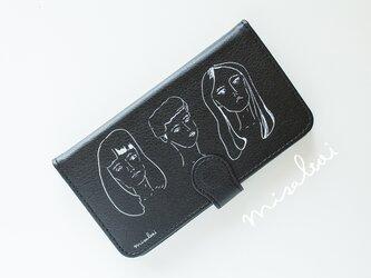 【全機種対応】「GIRLS' POWER」黒革手帳型スマートフォンケースの画像