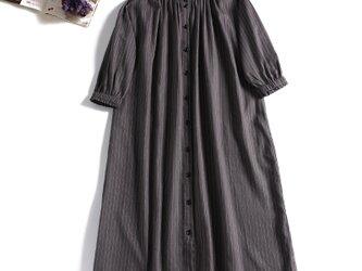 ストライプワンピース 綿麻 七分袖 三色 401-3の画像