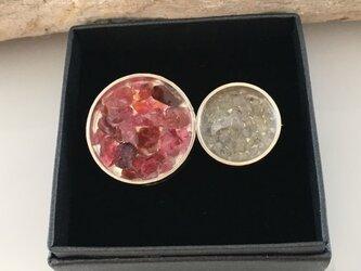 ダイアモンド原石・天然ピンクサファイア・スピネル原石◆Jewel Box SV Broachの画像