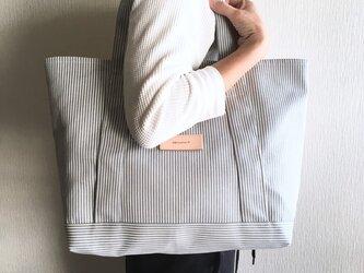 大容量 自立するヒッコリーのトートバッグ【サックス】の画像