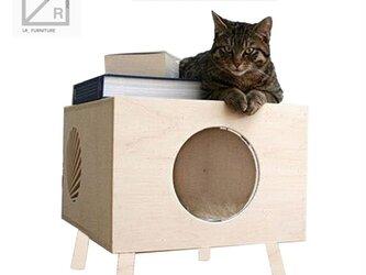 受注生産 職人手作り おしゃれ キャットハウス 猫のお家 木目 ウッド ナチュラル サイズオーダー可 家具 シンプルの画像