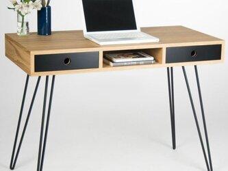 オーダーメイド 職人手作り デスク アイアンウッド 男前家具 テーブル パソコンデスク 無垢材 天然木 木工 木目 LR2018の画像