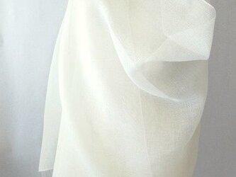 手織り 真っ白の麻の大判ストール(1)の画像