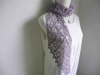 リネン 麻 花模様のストール(メランジラベンダー)の画像